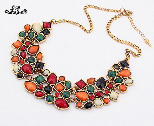 MINHIN New Popular 8 Colors Multicolor Big Pendant Clavicle Chain Necklace Women's Delicate Banquet Jewelry(China)