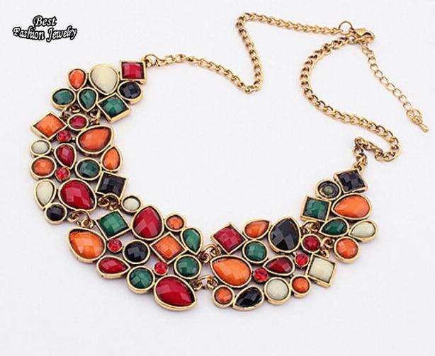 Minhin Новые популярные 8 цветов многоцветный большой кулон ключицы цепи Цепочки и ожерелья Для женщин Нежный Банкетный ювелирные изделия