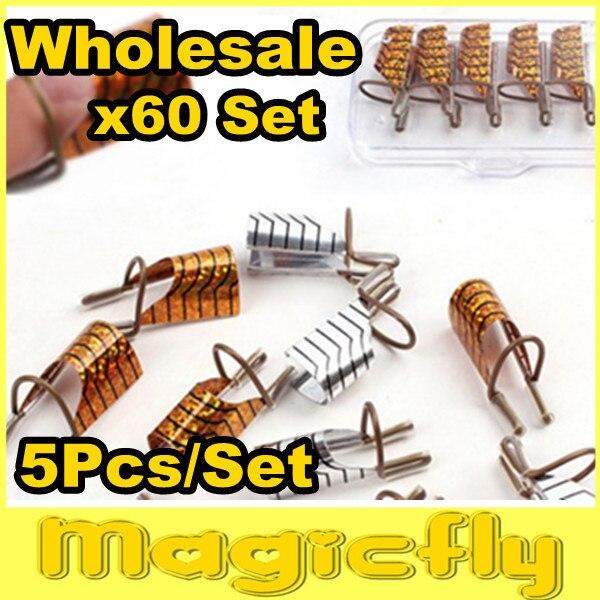 [PFL-050]Wholesale 60x(5Pcs/Set) Golden & Silver Color Aluminum Form/Reusable Nail Form