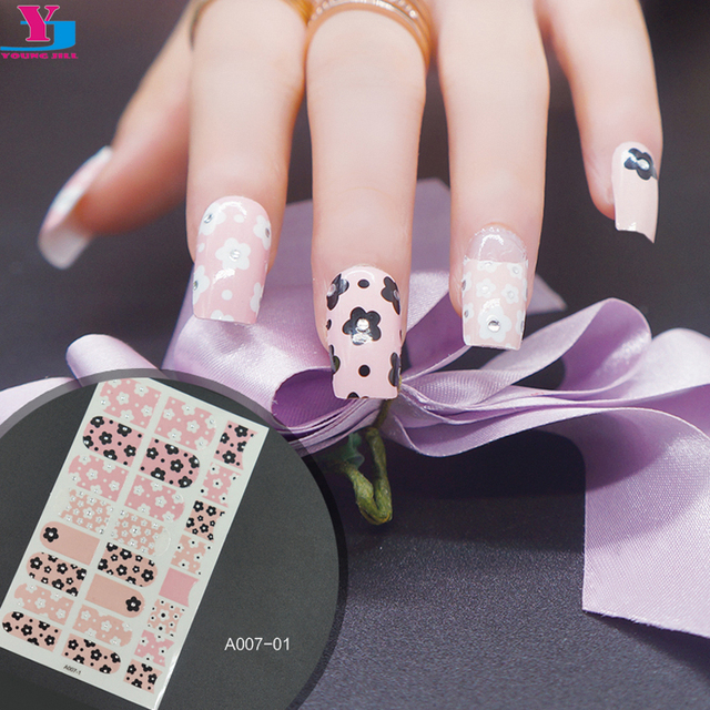 New Pink Flower Design Beauty Nail Sticker French Manicure Self