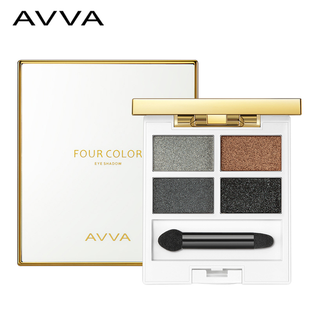 Alta qualidade AVVA deslumbrante colorido de quatro cores da sombra do olho/paleta de cosméticos naturais nu maquiagem sombra de olho brilhando