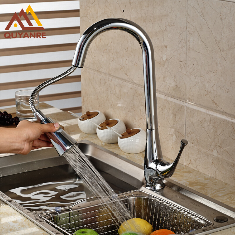 Chrome Finish Pull Out Kitchen Sink Faucet Deck Mount Dual Sprayer Nozzle Mixer Water Taps black and chrome led finish kitchen sink faucet deck mount pull out dual sprayer nozzle hot cold mixer water taps sink mixe