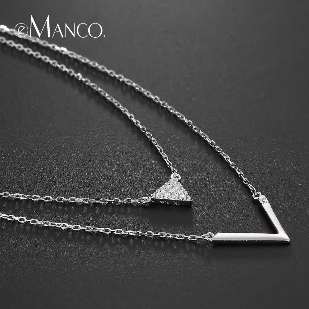 e-Manco Double Layer Long Necklaces For Women Simple V Pendant Necklace Charm 925 Sterling Silver Jewelry Gifts For Friendship