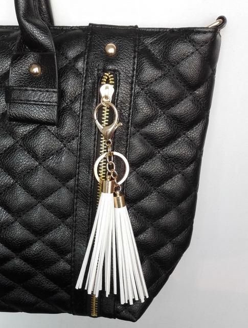 Women 2 Piece  Suede Tassels Keychain and Bag Charm