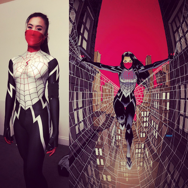 Free shipping 3D Printing Women's Black and White Spiderman Comic Clothing with Mask cos cosplay costume jumpsuits tight JQ-1251