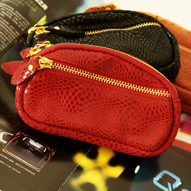 Suede genuine leather serpentine pattern double zipper coin purse coin case women's genuine leather mobile phone bag wrist
