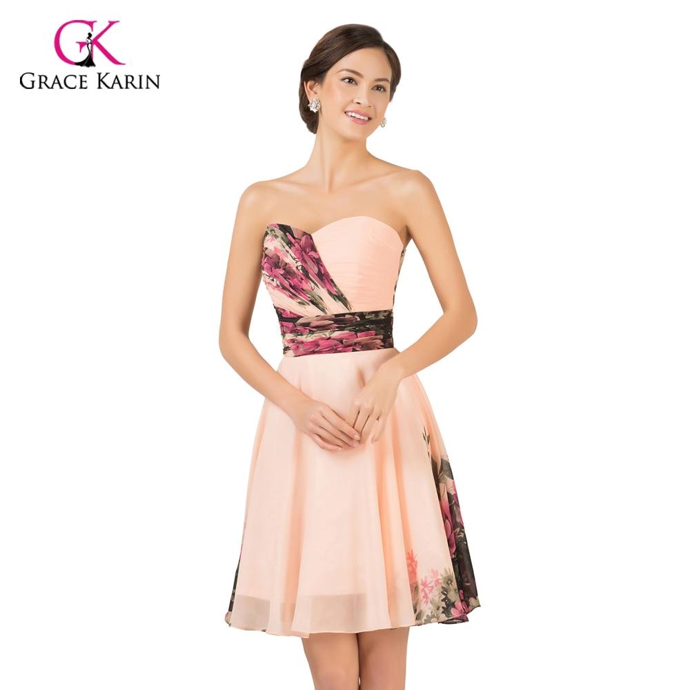 ⑥Evening Dresses 2018 Grace Karin Flower Print Pattern Chiffon ...
