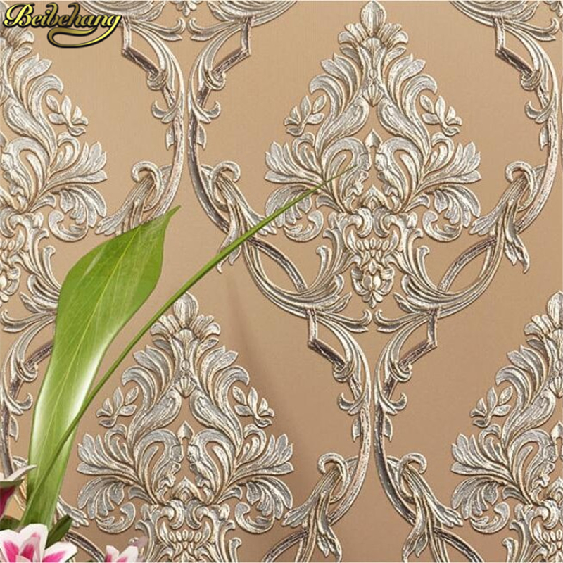 beibehang papel de parede 3D European embossed Damascus wallpaper for living room Bedroom non woven wall paper home lighting