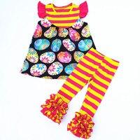 Aicton 2018 Nieuwe Mode Kleine Baby Katoen Outfit Pasen Kleurrijke Ei Meisjes Zomer Kleding Set Tuniek Peuter Meisjes Kleding