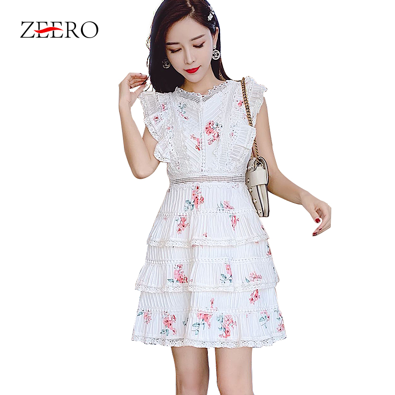 Australian Fashion Tide 2019 Summer New Women Dress Lace Embroidery Floral Cascading Ruffle Mini Lace Dress