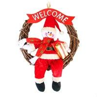 Christmas Pendant Decor Santa Claus Snowman Christmas Garlands Wreath Ornaments Home Party Door Hanging Xmas Doors