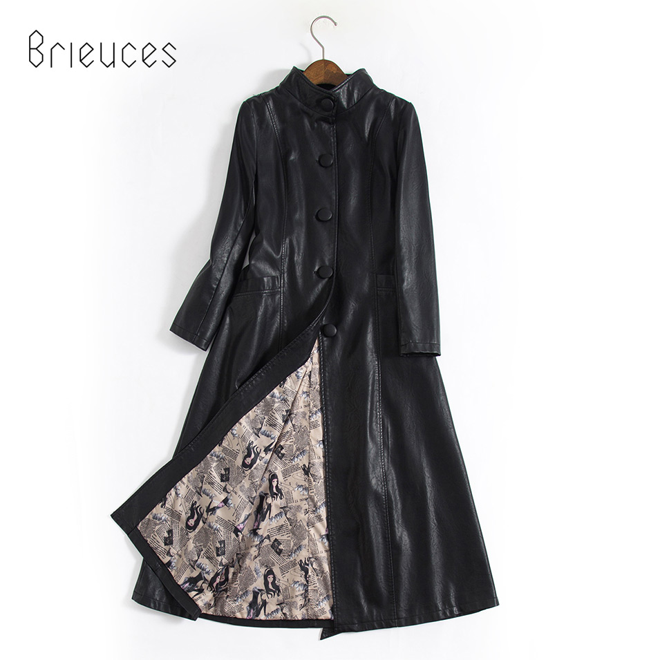 b 2019 New Arrival Women Autumn Winter Faux Leather Jackets Lady Fashion S 5XL Long Motorcycle Women Coat Outwear in Leather Jackets from Women 39 s Clothing