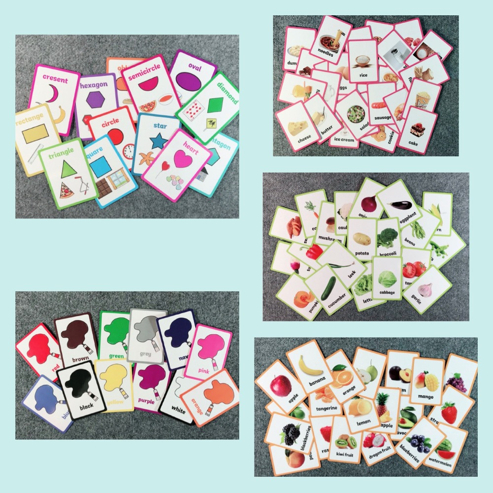 Kids English Learning Word Flash Card Children Learning Card Early Educational Toys Game Pocket Card