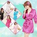 Hot! 2 pcs tamanho livre mulheres robe seis quartos natural fashion sexy roupão 6 cores kimono robes sexy lingerie underwear da mulher