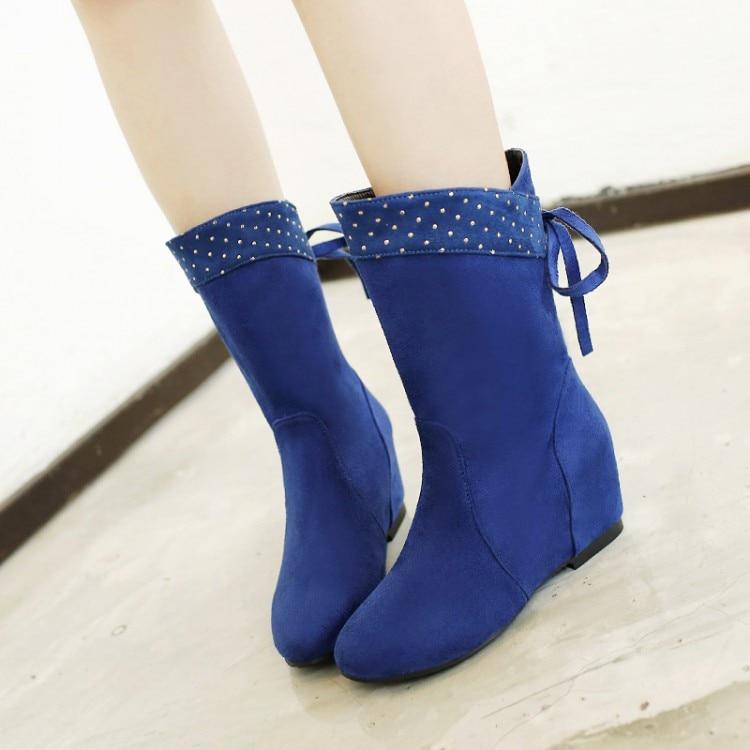 Botas Mujer Frauen Stiefel New Mode Schuhe Mittler-kalb Zunehmende Nubukleder Bequeme Beiläufige Hq102 Gut 2017 Rushed Medium b, M