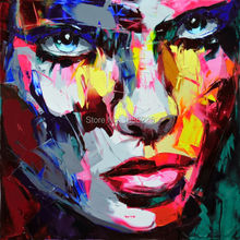 movie poster Nielly Francoise pop street art people face painting 100% handmade knife oil painting on canvas wall decor