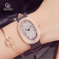 2017 GUOU Brand Luxury Watches Women Rhinestone Oval dial Leather Band Quartz Wrist Watch Simple Waterproof Ladies Dress Watches
