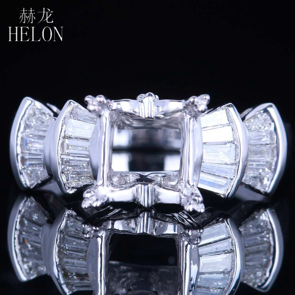 HELON Baguette 0.5ct 100% Genuine Natural Diamonds Solid 14K (AU585) White Gold Princess Cut 6.5mm Semi Mount Engagement RingHELON Baguette 0.5ct 100% Genuine Natural Diamonds Solid 14K (AU585) White Gold Princess Cut 6.5mm Semi Mount Engagement Ring