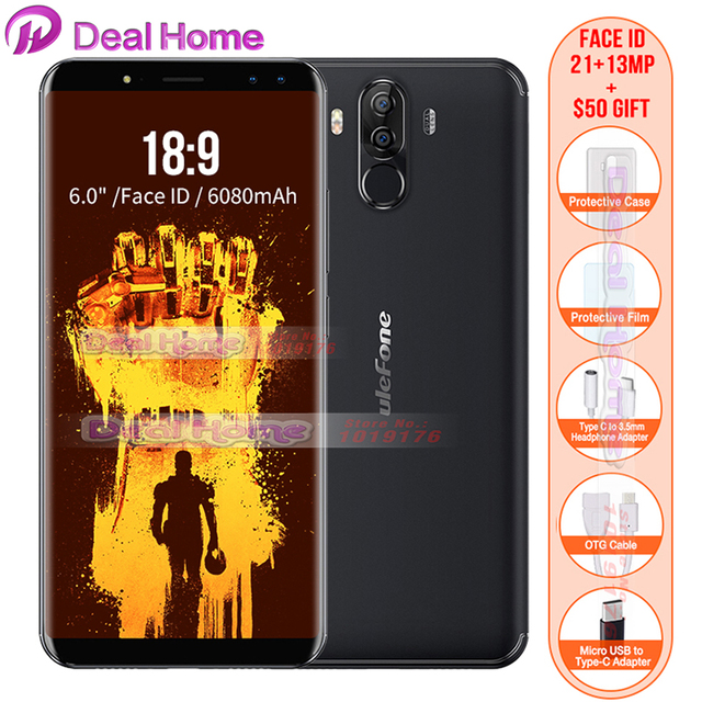 """In stock!Ulefone Power 3 6.0""""18:9 Full Screen 6080mAh 6763 Octa Core Face ID 21MP Four Camera 6GB 64GB Android 7.1 Mobile phone"""