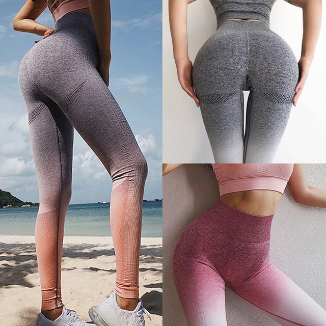 1a55070a95 Women Sexy Gradient Sports Gym Yoga Pants Compression Tights Seamless Pants  Stretchy High Waist Run Fitness Leggings Hip Push Up
