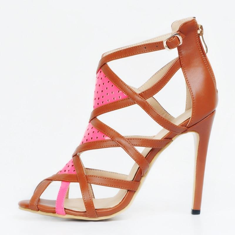 Brown Women Sandals Open Toe Back Zipper Mesh Hollow Out Open Toe Summer Shoes Ladies High Heels Gladiator Sandals Women цена