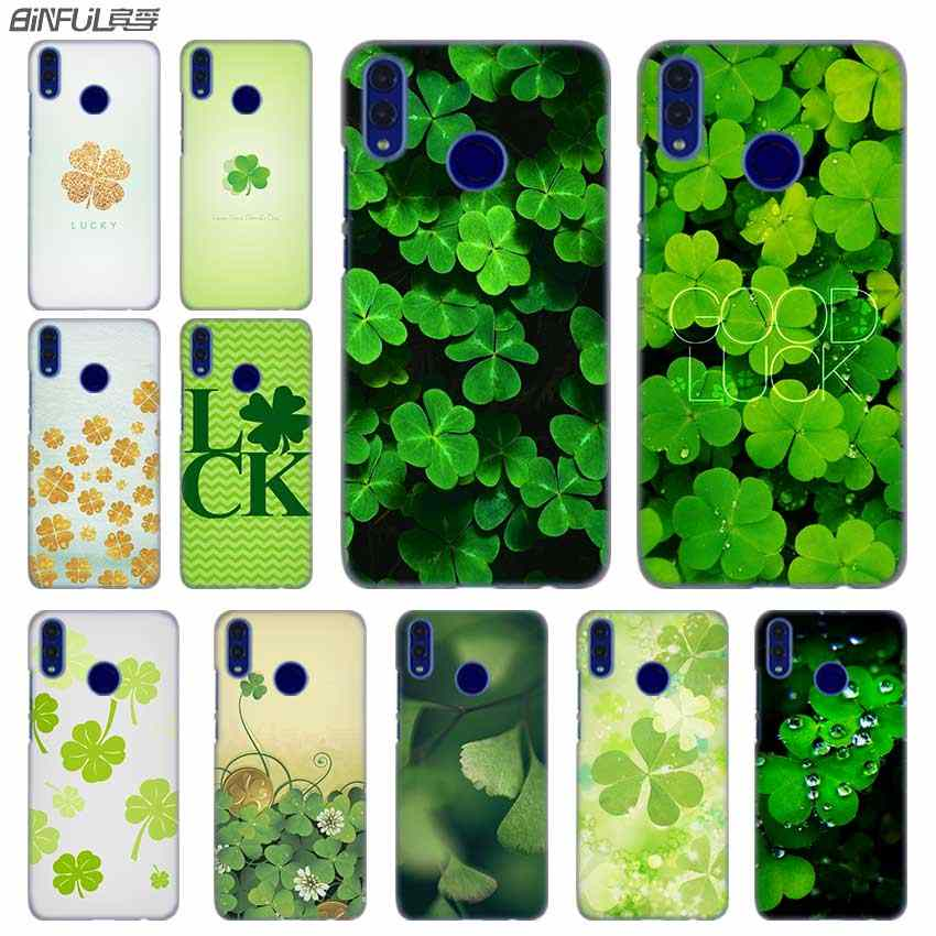 Fashion luxury Phone cose cover for Huawei Honor 10i 8 8X 9X 10 Lite 4C 5X 6 6X 6C 7a 20 Pro 7X Lucky green plant clover