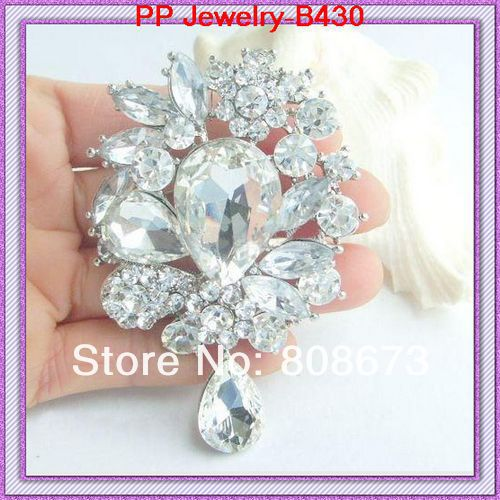 Free shipping(60pcs/lot)silver plated huge glass waterdrop shaped crystal brooch pendent-ใน เข็มกลัด จาก อัญมณีและเครื่องประดับ บน   1