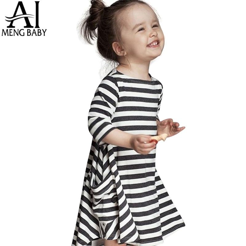 Long Sleeve Girls Black Navy Striped Dress 2017 New Autumn