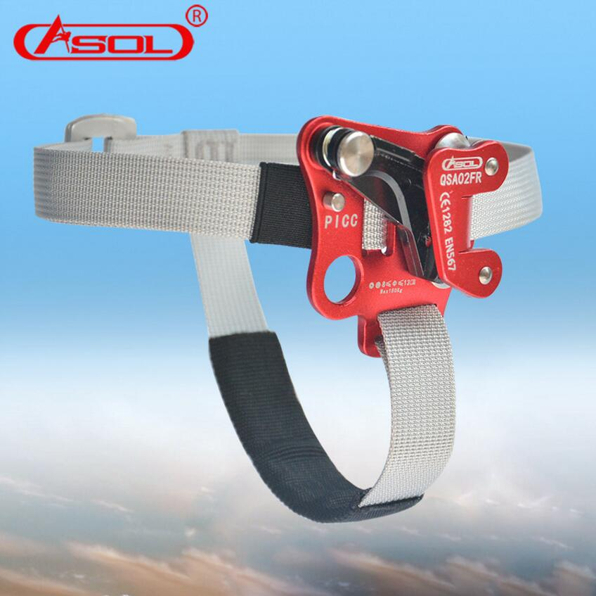 Brand ASOL Outdoor mountain climbing equipment ascenders implement catch rope climbing right foot pedal climbing rope ascender e0037 right hand ascender professional aerospace aluminum ascenders for outdoor mountaineering rock climbing