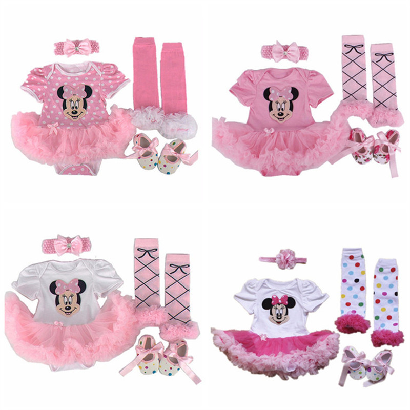 Christmas Baby clothing sets Infant Minnie gift tutu Newborn baby girls Romper Dress+Socks+Headband+shoes Baby girl clothes sets