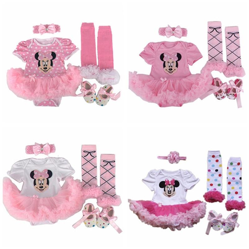 Christmas Baby clothing sets Infant Minnie gift tutu Newborn baby girls Romper Dress+Socks+Headband+shoes Baby girl clothes sets