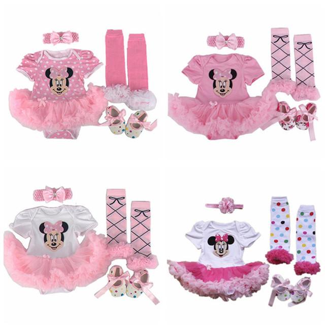 Regalo de navidad ropa de bebé conjuntos ropa infantil minnie tutú recién nacido bebé niñas mameluco dress + calcetines + venda + zapatos de bebé ropa de la muchacha conjuntos