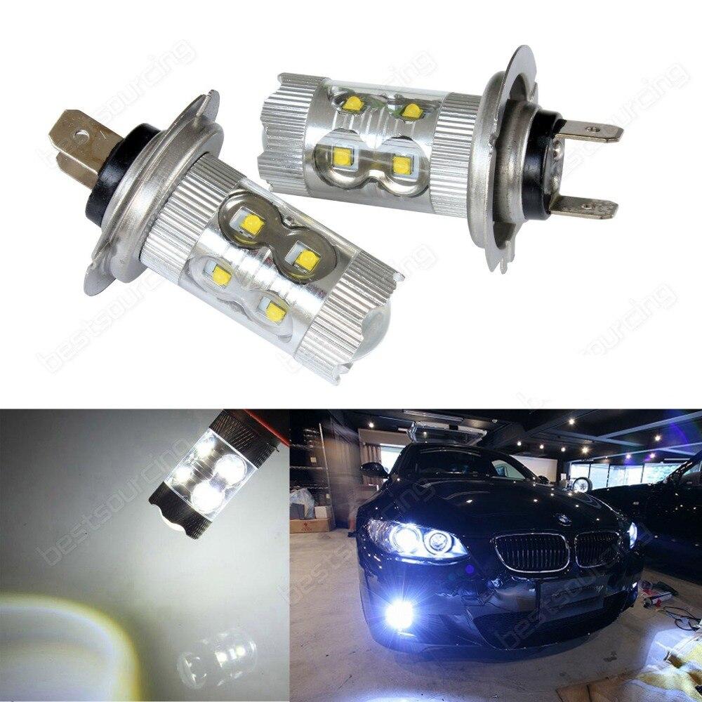 2pcs H7 499 50W CREE LED Projector White Headlight Fog Light Daytime Bulb Canbus