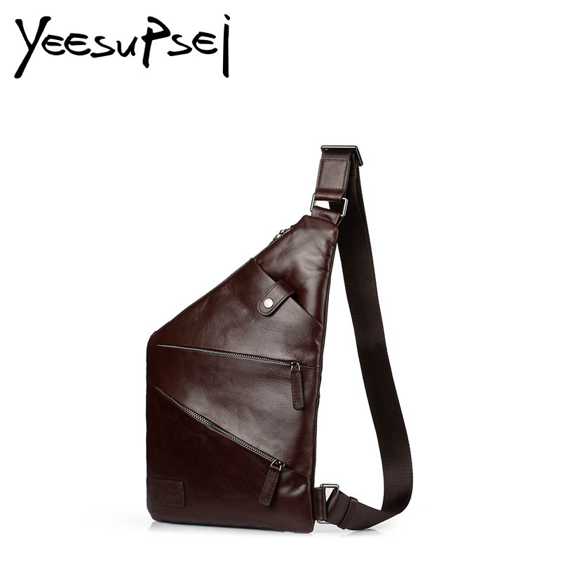 YeeSupSei Men Cross Body Chest Bag Crazy Horse Leather Men Bag Vintage Thin Chest Packs Retro Sling Male Bag Zipper Shoulder Bag