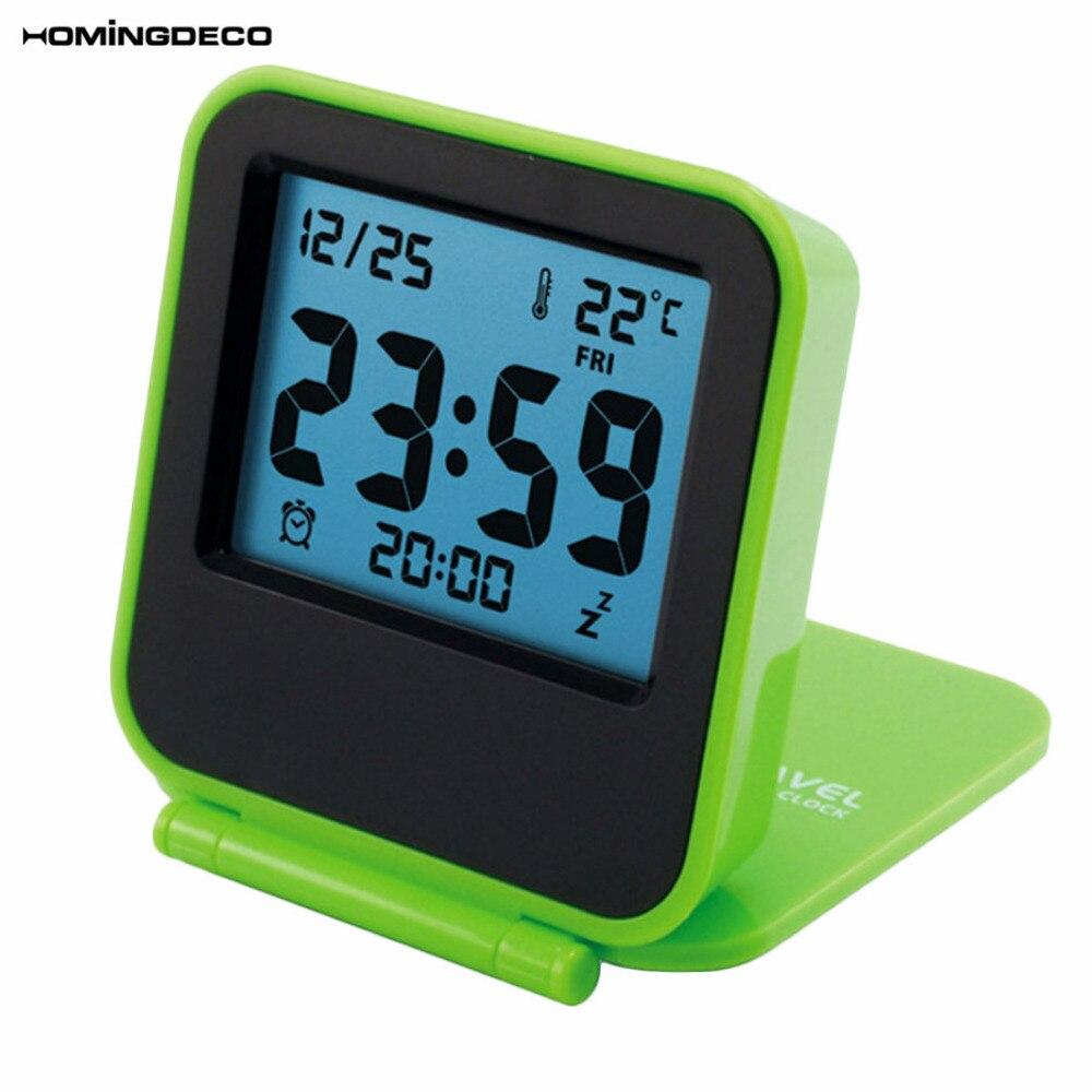 Alarm Clock Digital Foldable Silent Night Light LCD Digital Travel Electronic Desk Alarm Clock For Kids Children Men - Green