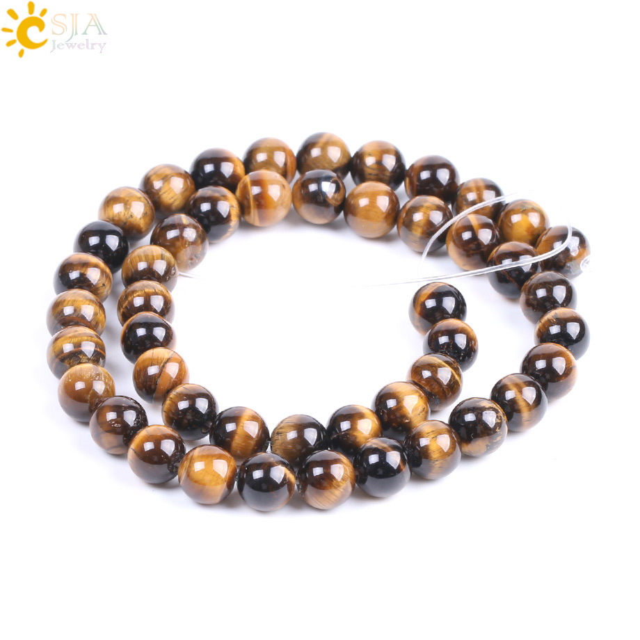 CSJA Natural Stone Yellow Tiger Eye Beads Factory Wholesale 8mm Mala Bead for DIY Personal Bracelet Necklace Jewelry Making <font><b>F196</b></font> image