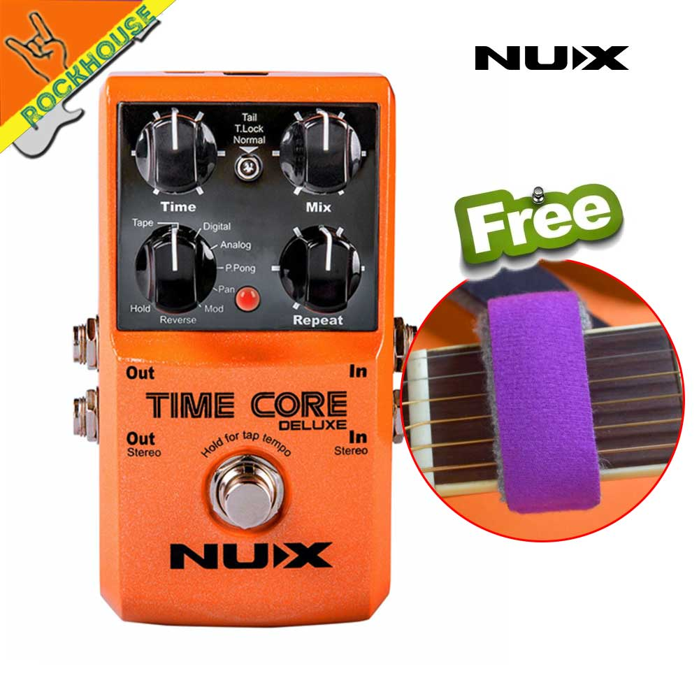 NUX Time Core Deluxe 7 types delay guitar effect pedal stereo looper effects with 40's recording time with USB upgrade Jack nux time core deluxe delay pedal different types of delays to the upmost ambience
