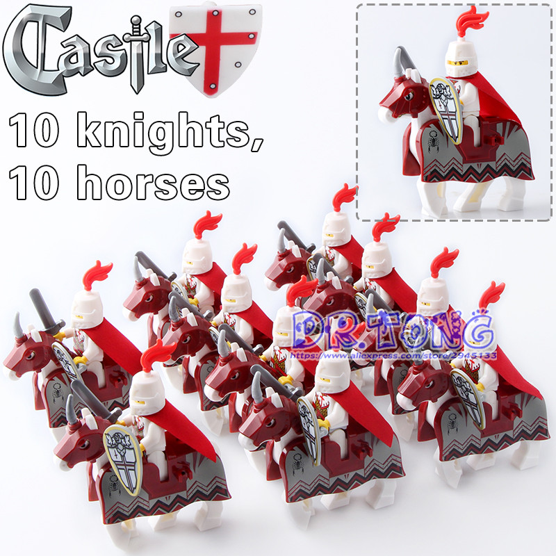DR.TONG Crusader Rome Commander with Red War Horse Battle Steed Super Hero Medieval Rome Knights Building Blocks Toys Child Gift iron commander экскаватор металл 234 дет 816b 136 г44213