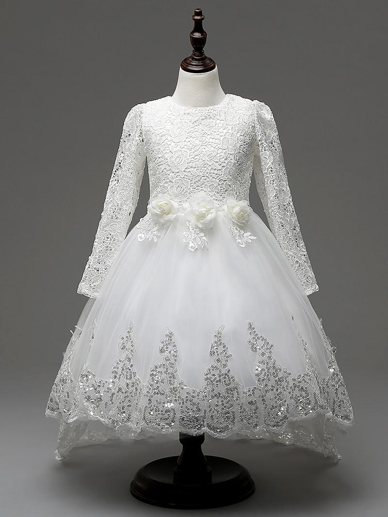 2e501fd152bf High Quality Solid Flower Little Girl Wedding Dresses White Elegant ...