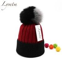 [Lymtm] أزياء الشتاء الثعلب الفراء كبير بوم skullies المرأة الدافئة الرياضة تزلج الصوف خليط محبوك قبعة عالية الجودة