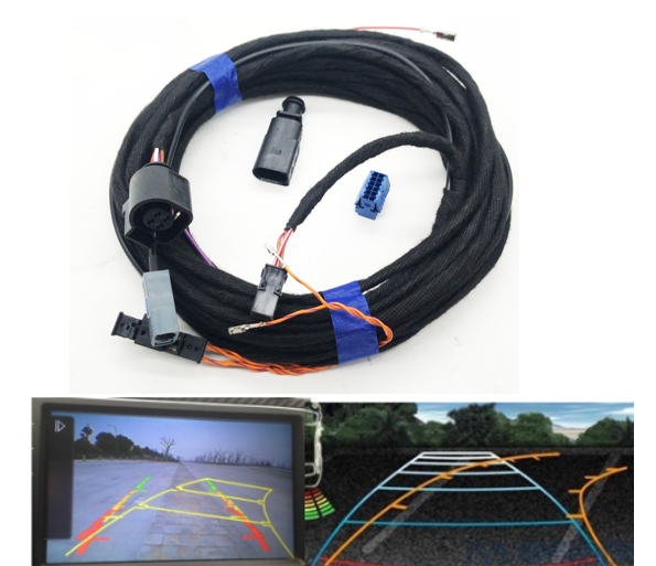 For VW Emblem Flip Rear View Reversing Trajectory Camera Harness RVC Track Connect Wiring Harness For VW MQB Golf 7 Passat B8