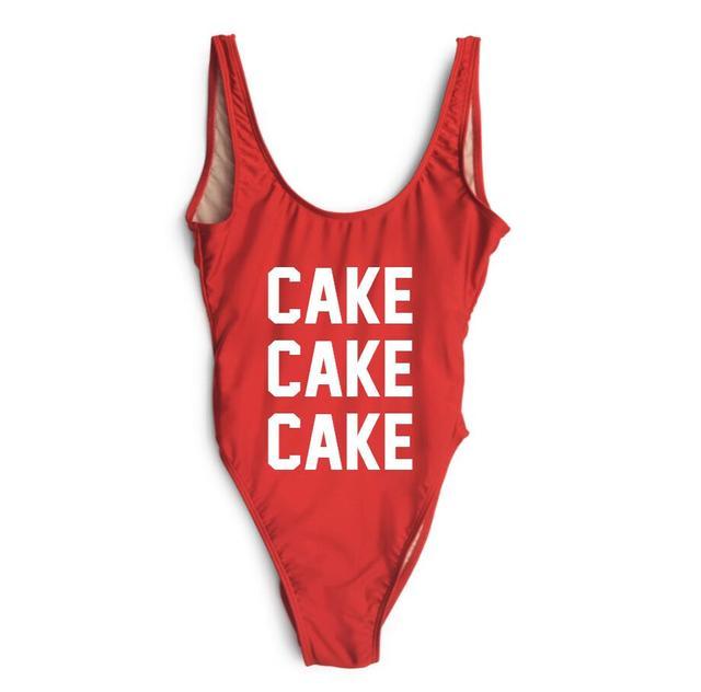 b1caabf38052d Cake print Custom One Piece Swimsuit 2017 Women Swimwear Solid Beach Plus  Size Bodysuits Vintage Retro Bathing Suits Monokini