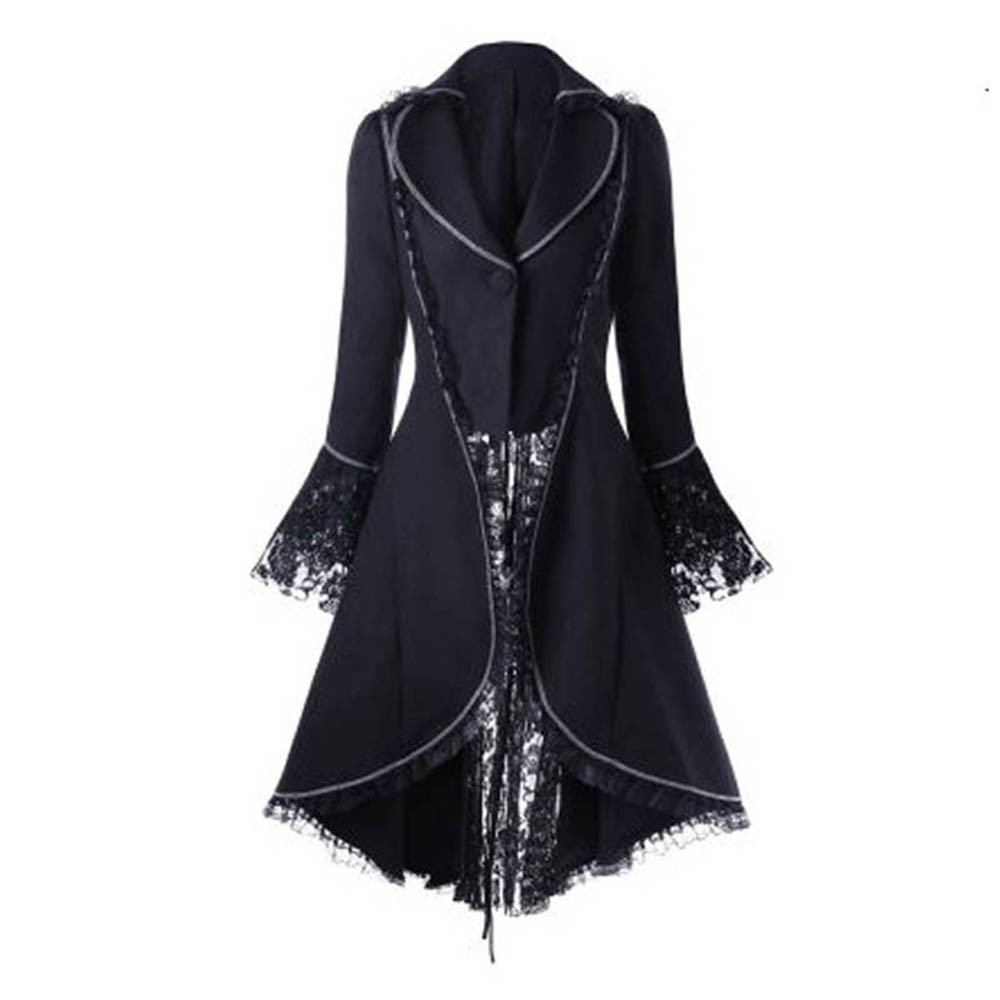 Black Gothic Dress Jacket with Cape Vintage Turn-down Collar Lace Flare Sleeves Dresses Halloween Mysterious vampire Dress