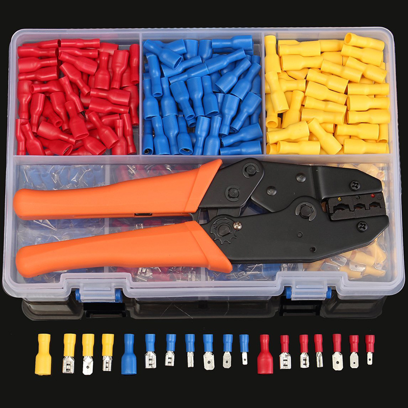 900pcs Insulated Male/Female Spade Wire Terminals Butt Connectors Kit & 1pc Electrical Crimping Plier 22-10 AWG Hand Tool Set rnb8 10 ring type non insulated spade cable terminals 500pcs for awg 8