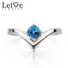 Leige Jewelry Wedding Ring London Blue Topaz Ring November Birthstone Round Cut Blue Gems 925 Sterling Silver Ring for Women