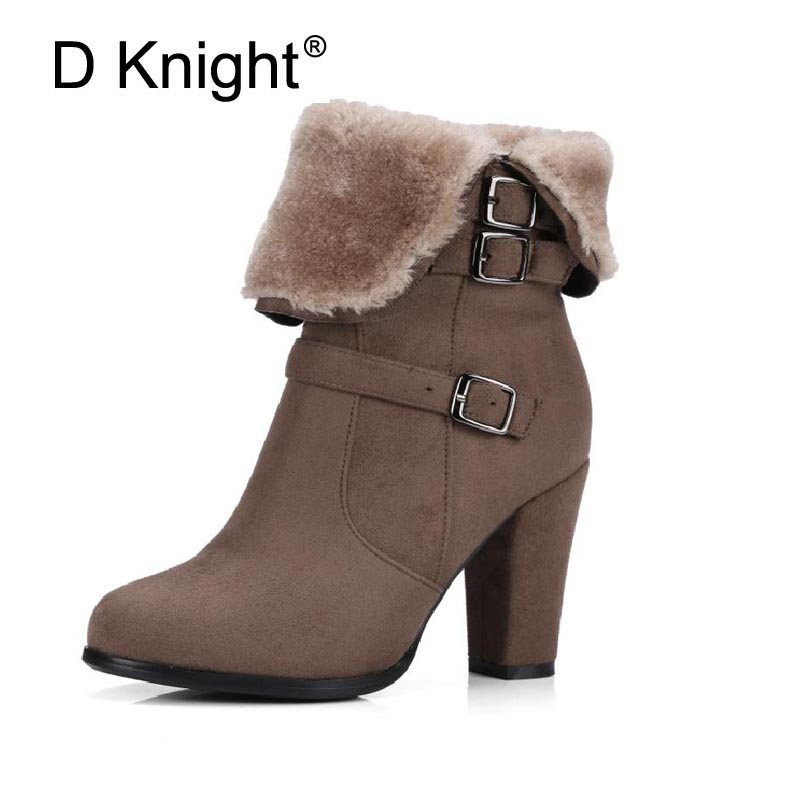 Fashion Round Toe Square High Heels Women Ankle Boots Elegant Fur Side Zipper Buckle Strap Winter Boots For Women Ladies Boots free shipping south korean style winter new nubuck fashion high heels round toe side zipper lace up riding boots women boots