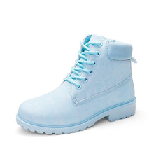 2018 New Autumn Winter Women Worker Boots Round Toe Flat Ankle Boots Fashion Candy Color Ladies Marten Boots Size 36-41