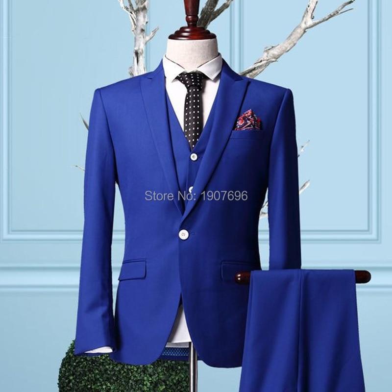 Royal Blue Wedding Mens Suits 2018 Slim Fit Three Piece