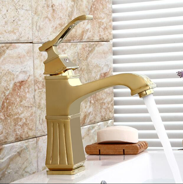 Single Handle Bathroom Tap Gold Carve Brass Basin Faucet Crane Tap Brush Nickel Water Tap Home Water Mixer Hot And Cold Water xoxo modern bathroom products chrome finished hot and cold water basin faucet mixer single handle water tap 83007