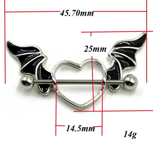 1 pair 316L Stainless Steel 14g Bat Wings with Heart Nipple Shield Ring